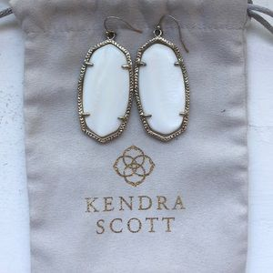Kendra Scott White and Gold Earrings
